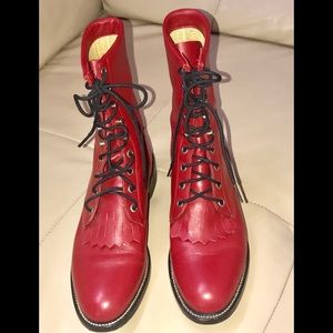 Vintage Leather Justin Red Lace Up Boots, 6.5